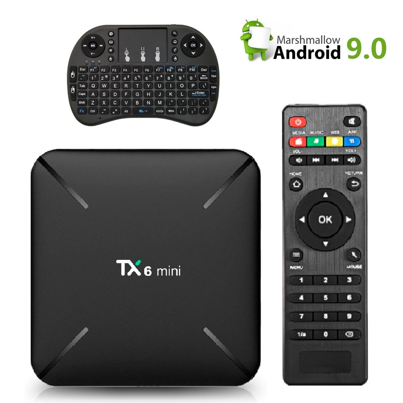 TX6 Mini With Wireless keyboard TV Box Android 9.0 Quad Core 2GB + 16GB 2.4G WiFi 4K HD AirPlay Set Top Box Media Player