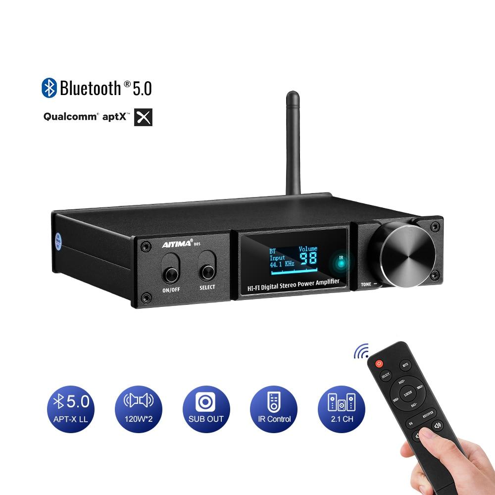 AIYIMA D05 5.0 Bluetooth Sound Amplifier 120W2 HIFI 2.1 Channel Digital Power Amplifiers Subwoofer Amp USB DAC OLED Remote APTX aptx amplificador bluetooth 5 0 hifi usb dac audio mini amp headphone amplifier 6n3 vacuum tube portable earphone amplifiers