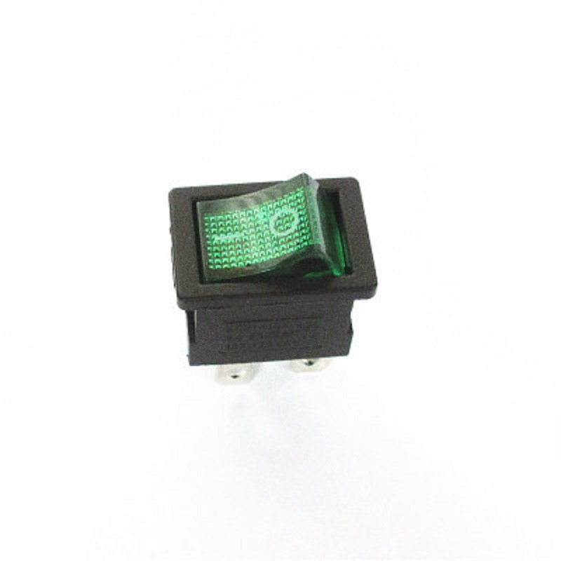 10PCS Ship Type Switch 15*21mm 4PIN ON/OFF Rocker Switch 6A/250V 10A/125V 15X21 With Green Light hot sale10pcs 3 pin spst neon light on off rocker switch ac 250v 10a 125v 15a