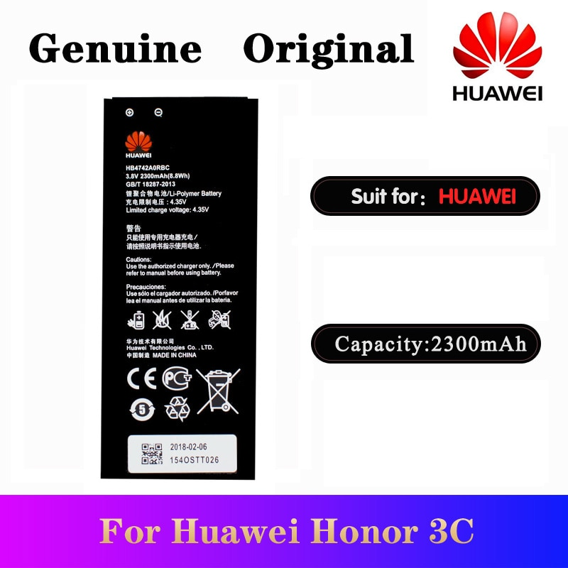 HuaWei 100% Original Battery HB4742A0RBC For Huawei Honor 3C G630 G730 G740 H30-T00 H30-T10 H30-U10 H30 Replacement Batteria