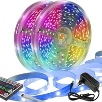 led light strip 50 feet about 15 meterswith44key infrared remote control 12v eu5050 rgb 2 rolls of light strip 7 5m per roll