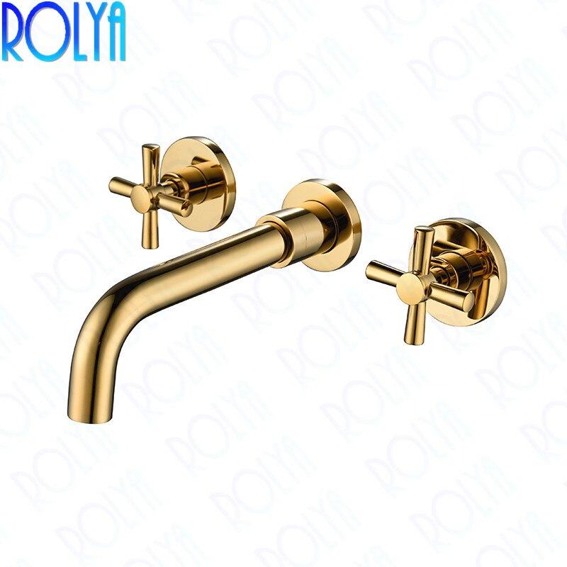ROLYA-حنفية حمام ذهبية ذات مقابض متقاطعة مزدوجة ، مثبتة على الحائط ، للحوض