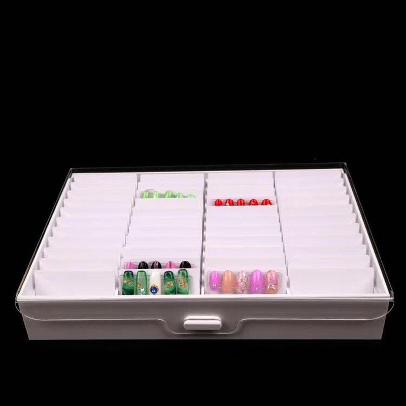 صندوق تخزين فارغ للتقليم ، صندوق به 44 مقصورة ، علبة مانيكير ، صندوق مجوهرات ، مسحوق حجر الراين ، عصا ، أدوات الأظافر