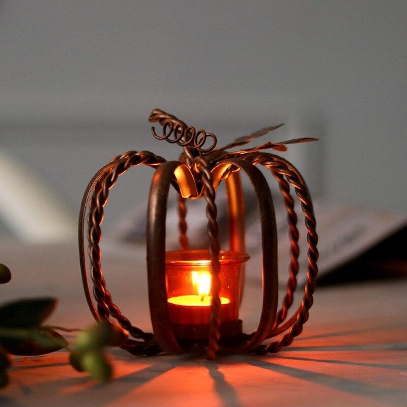Metal Pumpkin Candle Holder Fall Halloween Festival Home Decor Accessories B95B