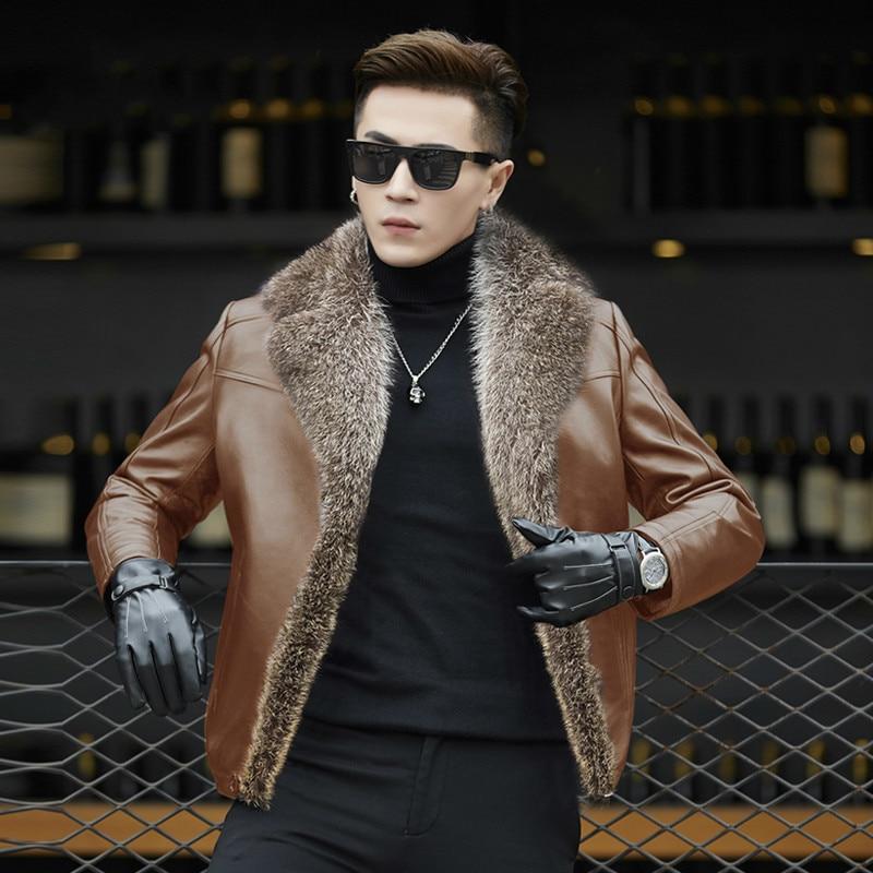 Hombre Otoño Invierno Cuello de piel de mapache segunda capa de piel de oveja abrigo para hombres lana chaqueta de piel HD5188 KJ1121