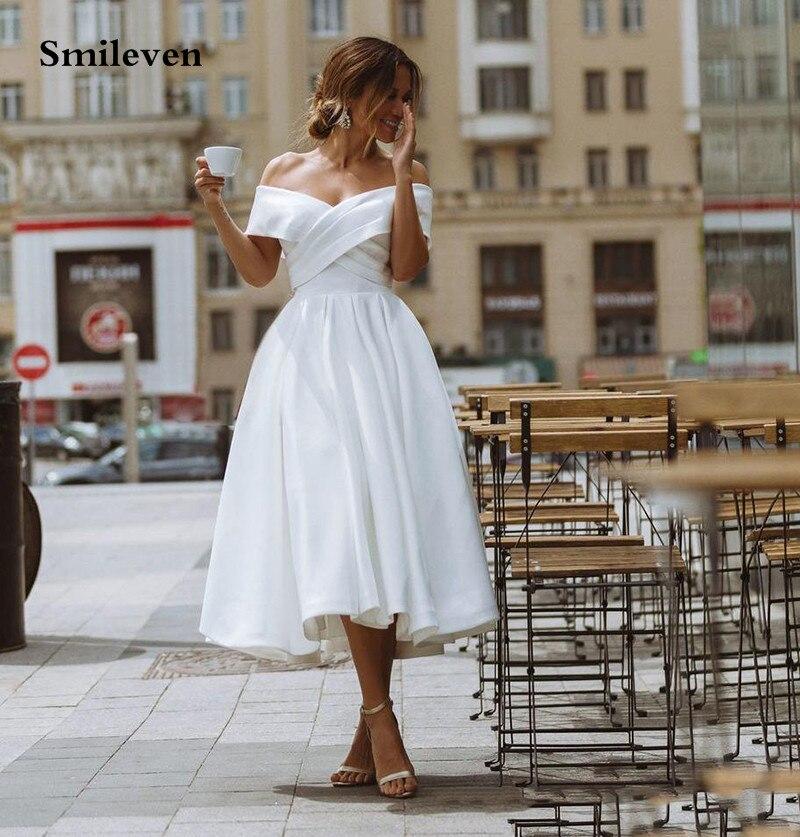 Smileven A Line Short Princess Wedding Dresses Satin Off The Shoulder Ankle Length Corset Bride Dress Robe De Mariage  Lace Up