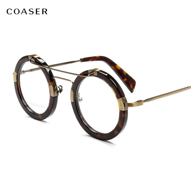كوزر تراين-نظارات مستديرة عتيقة للرجال والنساء ، نظارات بإطار من الأسيتات ، وصفة طبية ، عدسات بصرية ، متعددة الألوان