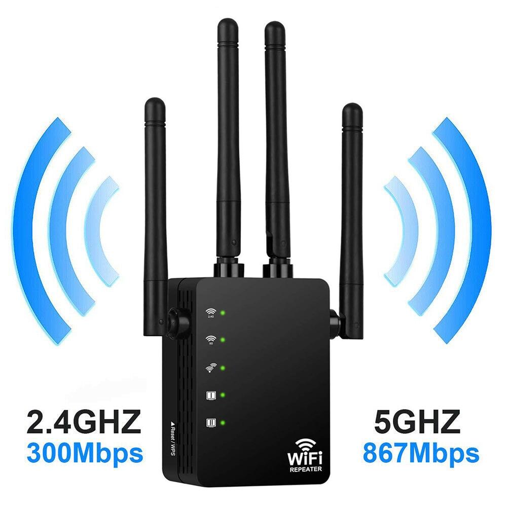 Wi-Fi ретранслятор 1200 Мбит/с, двухдиапазонный 2,4/5G, 4 антенны, расширитель диапазона Wi-Fi, домашняя сеть