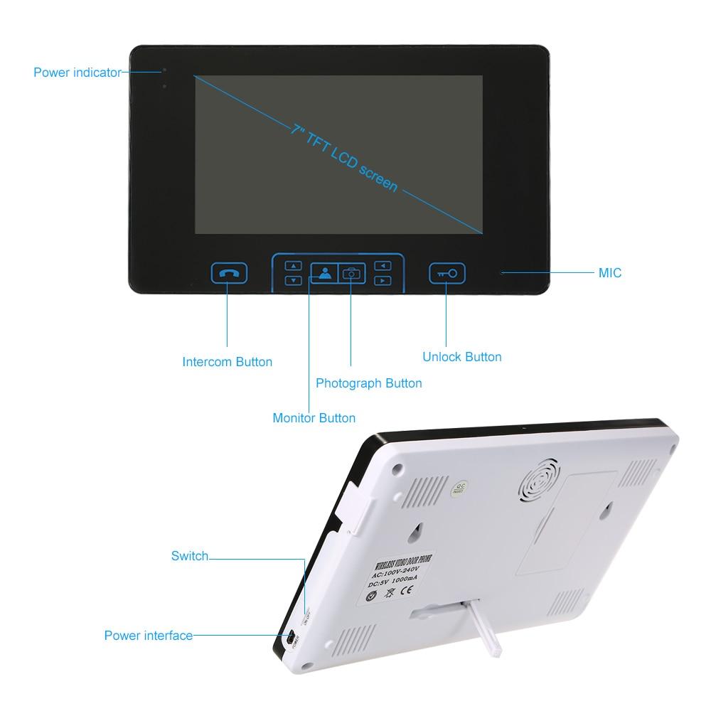 2.4GHz Digital Video Door Phone Video Intercom Security 2 Doors 1 Monitors Home Access Control System Doorbell Built-in Battery enlarge