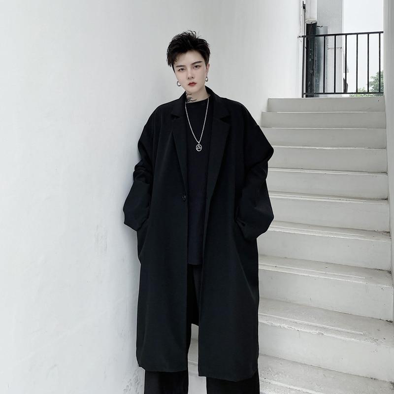 Abrigo largo holgado de talla grande oscuro liso estilo japonés estilo gótico High Street para hombre