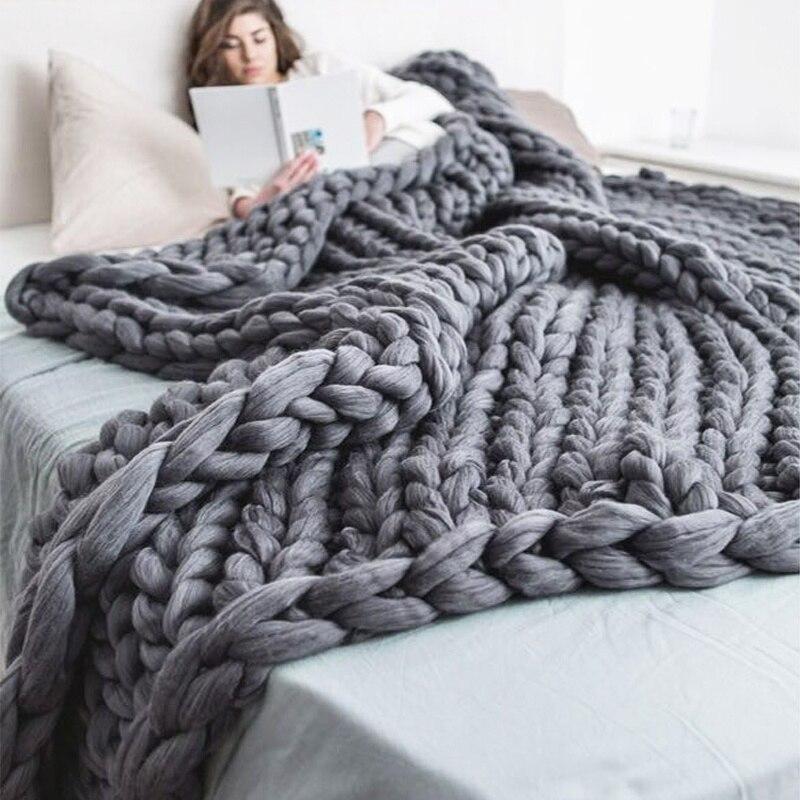 Transporte Rápido Moda Chunky Malha Cobertor Fio Grosso Volumoso Tricô Lance Cobertores Sofá Piquenique 200*200cm Mão