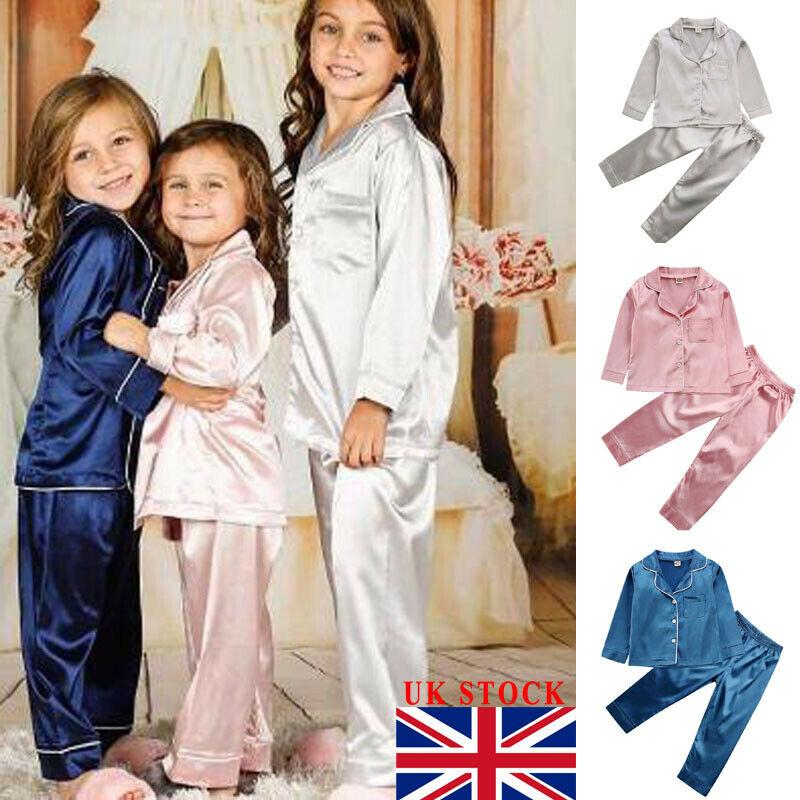 2019 kleinkind Baby Jungen Mädchen Silk Satin Top Pant Pyjamas langarm Feste Taste-Unten Pyjamas Satin Set Kind nachtwäsche Nachthemd