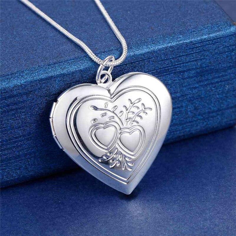 Прямая-продажа-с-фабрики-925-Серебряное-ожерелье-18-дюймов-сердце-кулон-фоторамка-для-женщин-модные-ювелирные-изделия-свадебные-вечерние-п