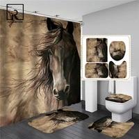 Ensemble de salle de bain avec rideau de douche antiderapant  tapis de bain en flanelle  paillasson avec couvercle de toilette  tapis de cuisine de maison