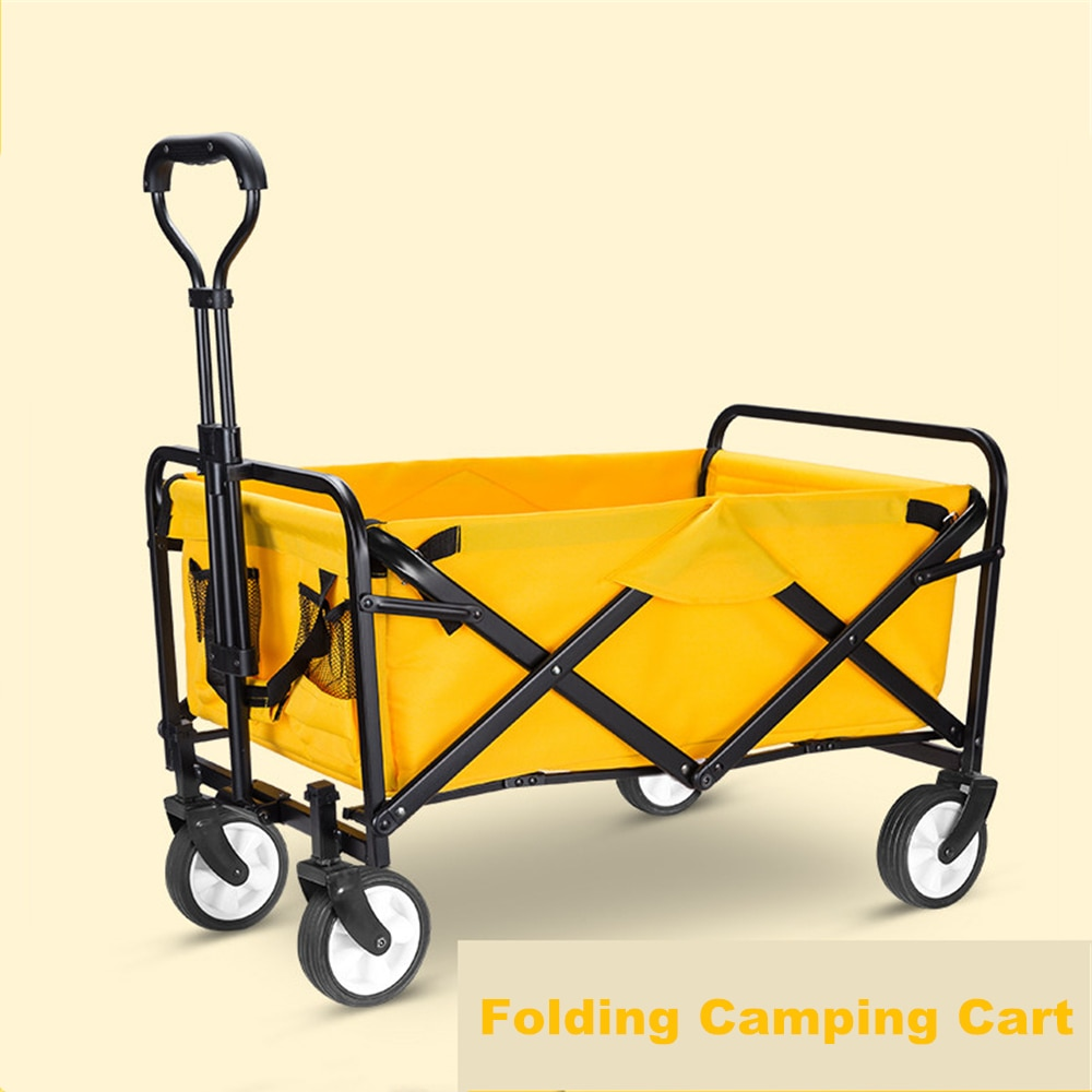 Folding & Rolling Collapsible Garden Cart Outdoor Camping Wagon Utility with 360 Degree Swivel Wheels & Adjustable Handle