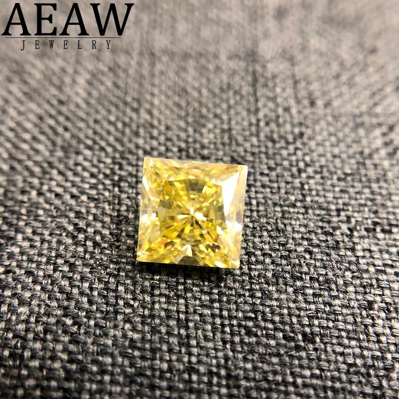 قطع الأميرة 2.0 قيراط ، مويسانيتي أصفر ، فضفاض ، حجر VVS ، قطع ممتاز ، ألماس مختبر إيجابي
