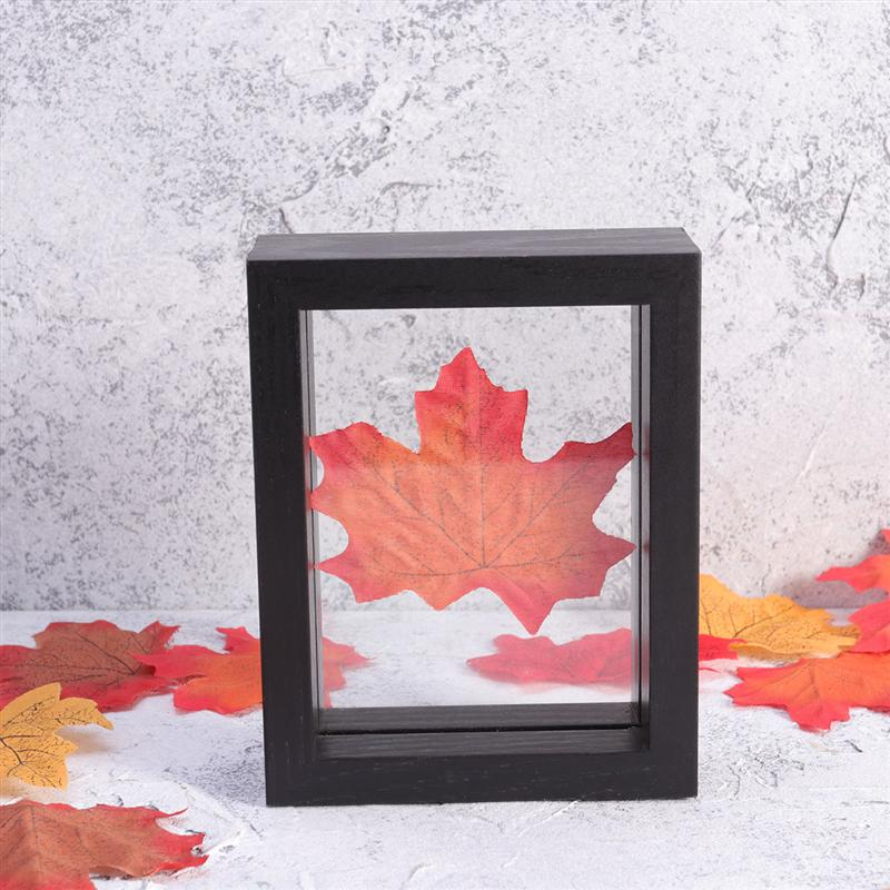 1Pc Double-sided Moldura de Vidro Flor Folhas Secas Da Planta Espécime Quadro DIY Quadro de Imagem de Papel cut-