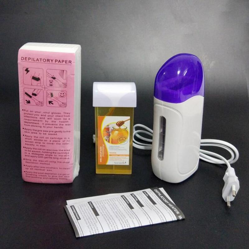 Professional Hair Waxing Set Depilatory Paper Strip Wax Warmer Cartridge Heater Machine Wax Remover Kit