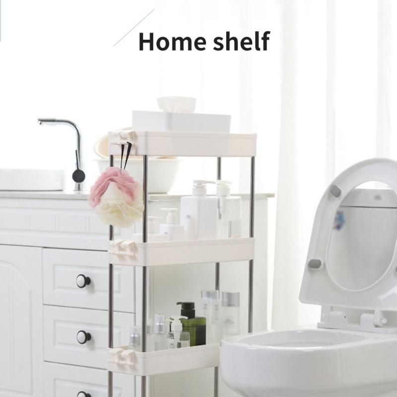 2/3/4 Layer Gap Rack Bathroom Slim Slide Tower Assemble Plastic Shelf Organizer Space Saving Kitchen Home Furniture Tool
