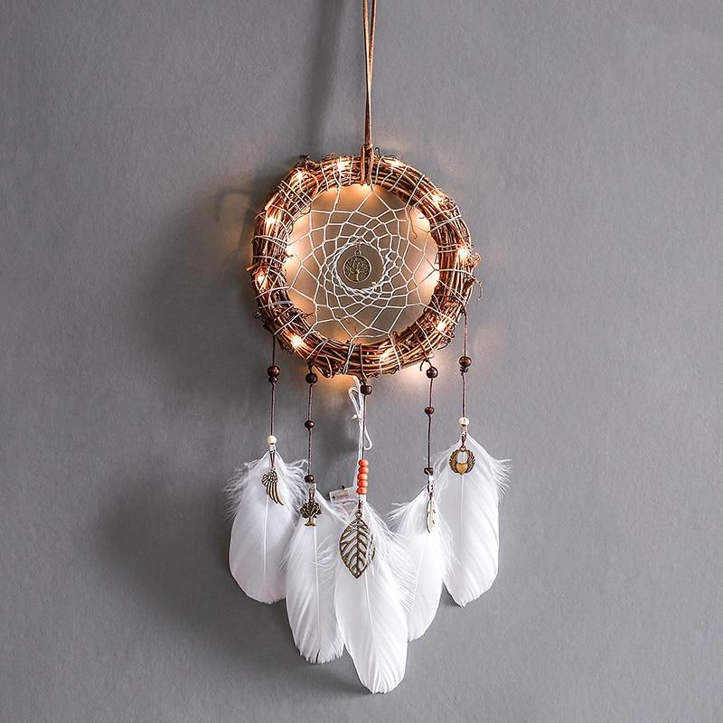 Heiße Neue Kleine Natürliche Feather Dream Catcher mit Kristall Meer Shell Perlen Tasche Hängende Dekoration Pandent Geschenke Kleine