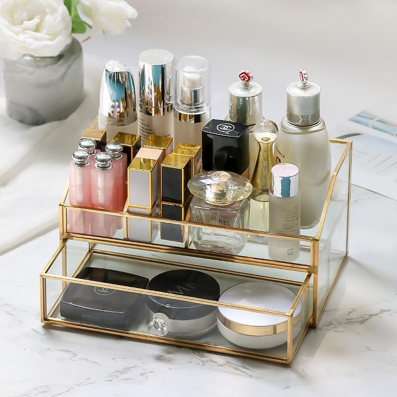 Nordic Glass Cosmetic Organizer Bathroom Perfume Nail polish Lipstick Storage Drawer Case Dust-proof Makeup Storage Tools