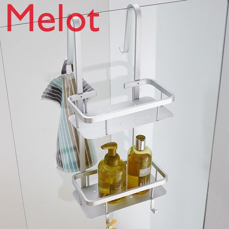 Espacio contemporáneo aluminio plata esquina cesta y estante de baño 2 capas cepillado cosmético titular accesorios de baño G66