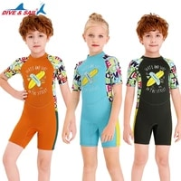 childrens diving suit mens one piece short sleeved swimsuit girls thick warm swimwear girl kids drop shipping