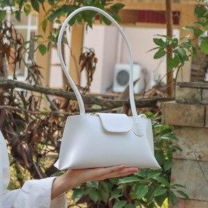 Summer Solid Color Vintage Armpit Baguette Bag 2021 New Style Fashion Luxury Women's Small Shoulder Bag Leather White Handbag