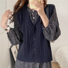 Korean Chic Western Style Super Versatile V-neck Single Breasted Hemp Pattern Solid Color Knitted Ca