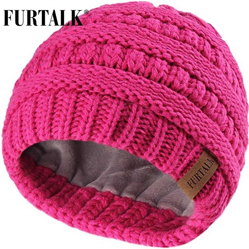 FURTALK niños sombrero de invierno Toddle Girls Boys gorro de lana gorro de punto cálido para niños gorros holgados gorra de invierno para bebé por 2-10 años