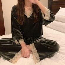 Home Suit For Women Ladies Pajamas Autumn And Winter Fairy Velvet Homewear Set Women Loungewear