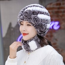 Real Rex Rabbit Fur Hat And Scarf Set Women Winter Knitted Beanie Hat Natural Fur Skullies Beanies W