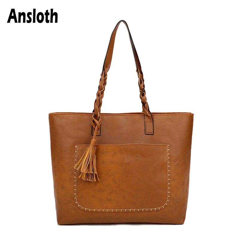 Ansloth Knitting Tassel Shoulder Bags For Women High Capacity Bags Versatial Hand Bags PU Leather Bags Vintage Tote Bags HPS929
