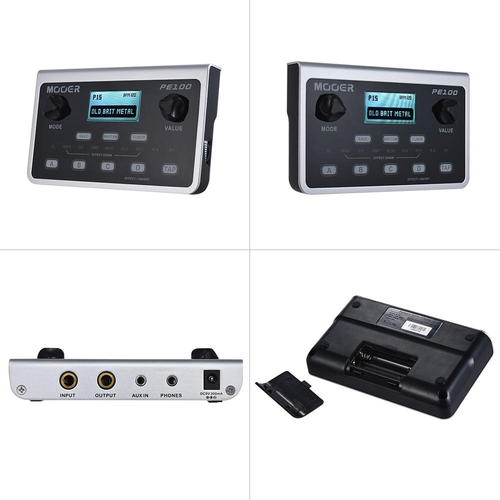 MOOER PE100 Guitar Effect Pedal Multi-Effects Processors Electric Guitar Pedal Metronome Desktop + US Adapter LCD Display enlarge