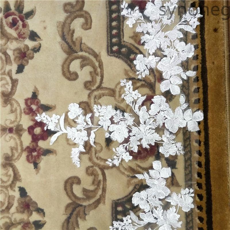 3 metra jednoslojni vjenčani veo s češljem bijeli čipkasti rub - Vjenčanje pribor - Foto 5