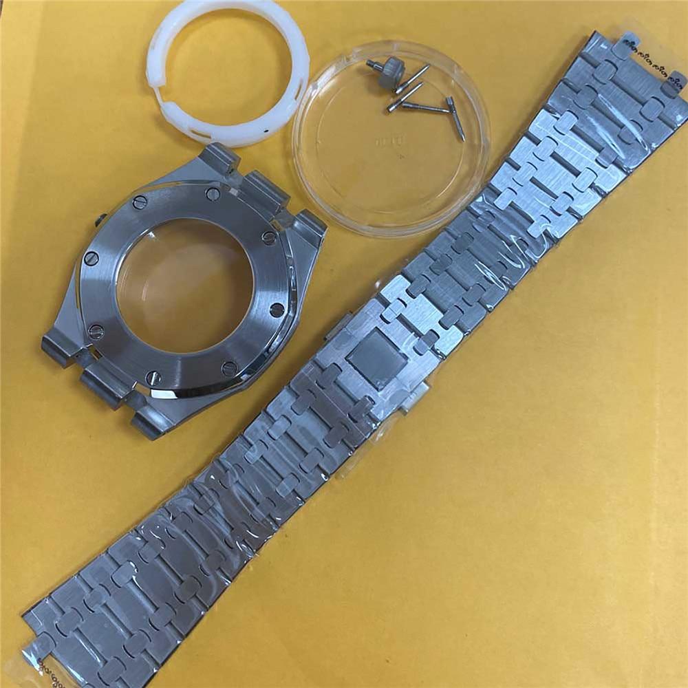 استبدال 41 مللي متر إسكان الساعة من الفولاذ المقاوم للصدأ قذيفة حزام ساعة اليد الفرقة ل NH35/NH36/4R36 حركة الملحقات