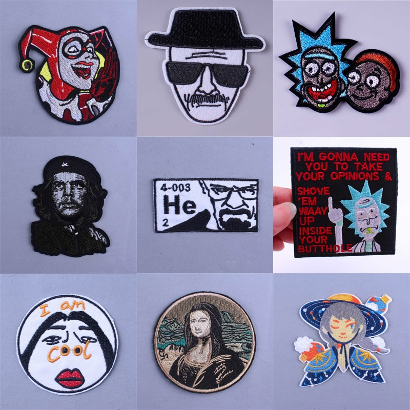DIY Breaking Bad parche King Iron On parches para ropa dibujos animados bordados parches en ropa DIY Hippie divertido mantel de rayas