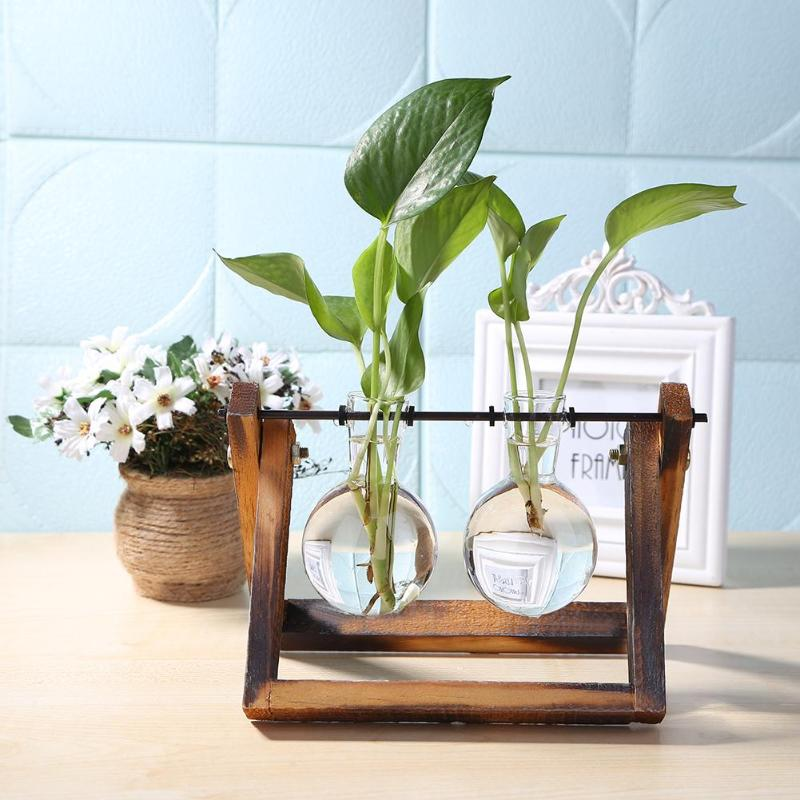 Vaso de madeira de vidro planta vasos vass terrário mesa mesa mesa hidropônico planta bonsai pendurado vasos com bandeja de madeira decoração da casa