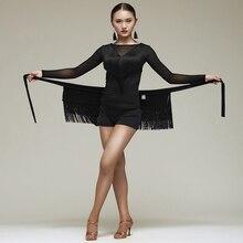 Nouveau Latin danse jupe femmes glands tablier Costume formation hanche écharpe Cha Cha Samba danse taille serviette Latin accessoires