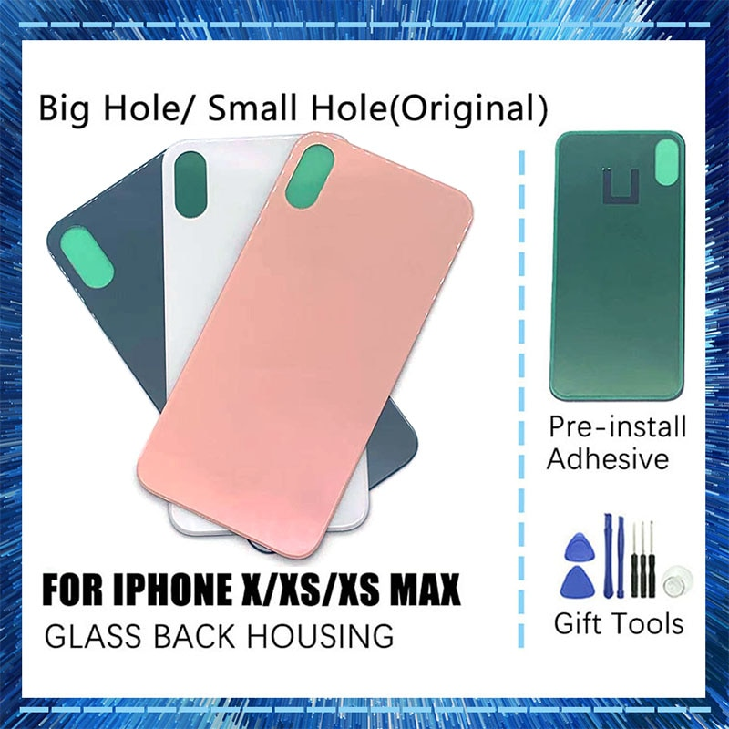 1pcs New High Quality For iphone X Xs Xs Max Back Glass Housing Battery Cover Replacement Big Hole And Small Hole+logo