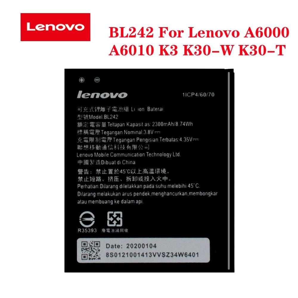 Battery BL242 For Lenovo A6000 A6010 K3 K30-W K30-T A3860 A3580 A3900 A6010 Plus Original Mobile Phone batteria 2300mA