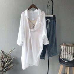 Frauen Langen Weißen Blusen Frühling Sommer 2020 Neue Koreanische Ein Taschen frauen Hemd Verlängerung Sonnenschutz Tops und Bluse In lager