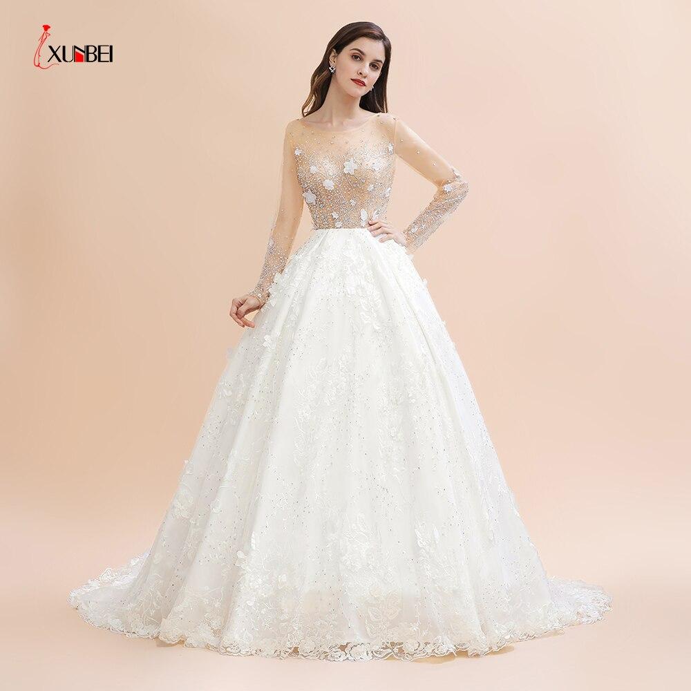 ¡Novedad De 2020! Vestidos De novia largos y reales con cuentas De cristal, vestidos De novia con flores, vestidos De novia para boda, Vestido De novia lujoso