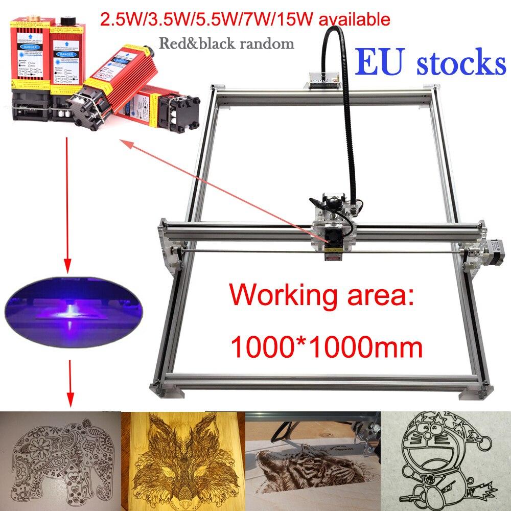 EU ship 1010 mini CNC 15w laser cutting machine TTL PWM control 1000*1000 laser engraving machine 15w laser carving machine
