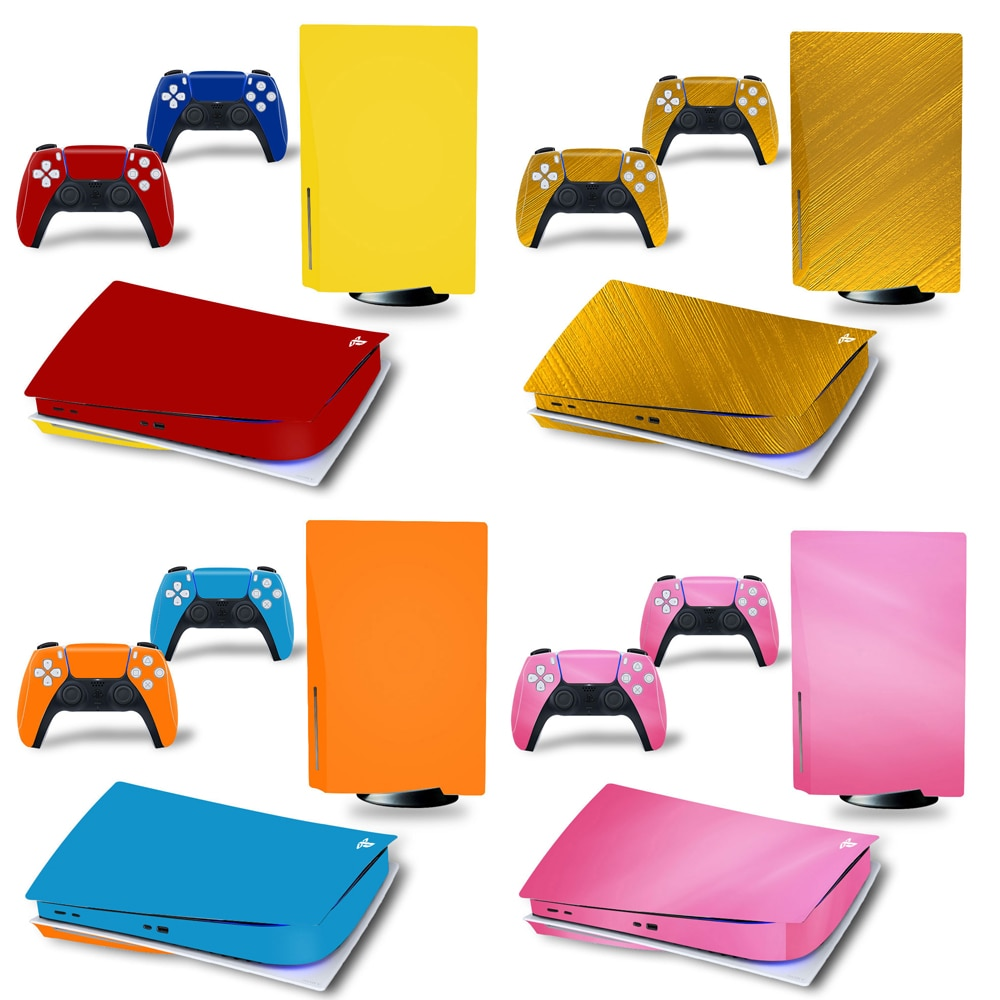 Pure Color for PS5 Disk Edition Skin Sticker Decal Cover for Sony PlayStation 5 Console and 2 Controllers PS5 disk Skin Sticker