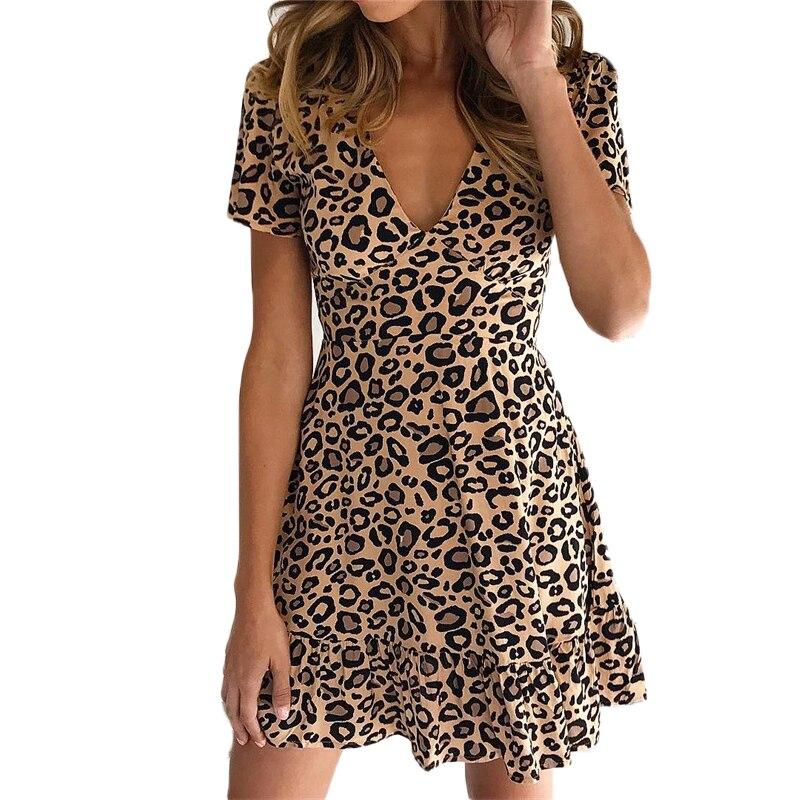 Sexy Leopard Summer Dress Women Fashion Print Short Sleeve V Neck Casual Elegant Stretch Waist Party Dresses Vestidos Robe Femme