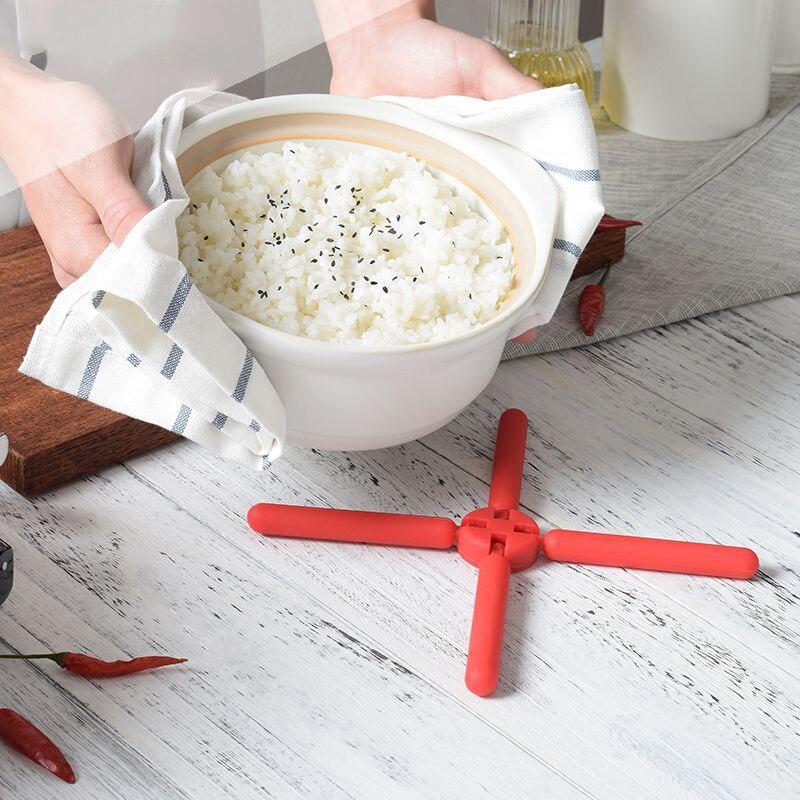 Mantel Individual de silicona en forma de cruz, vaso aislante de calor plegable portátil, posavasos, mantel, soporte para maceta, estante de almacenamiento para teléfono móvil