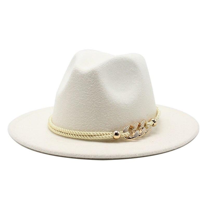 Black/white Wide Brim Simple Church Derby Top Hat Panama Solid Felt Fedoras Hat for Men Women artifi