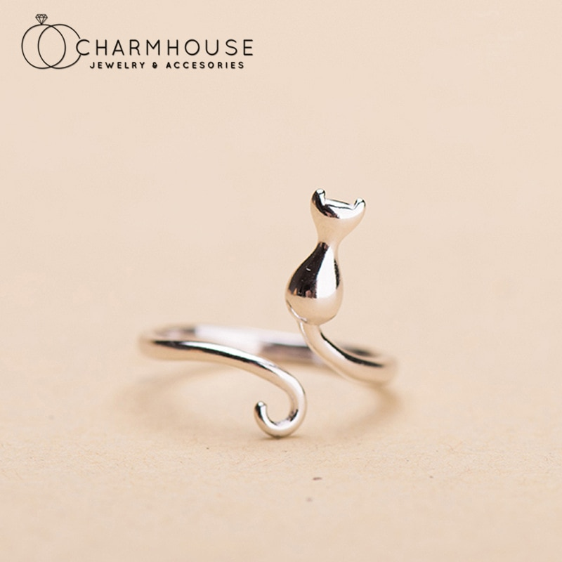 Pure Silver Finger Rings For Women Cat Open Ring Adjustable Anillo Bague Femme Trendy Jewelry Accessories Bijoux Party Gifts