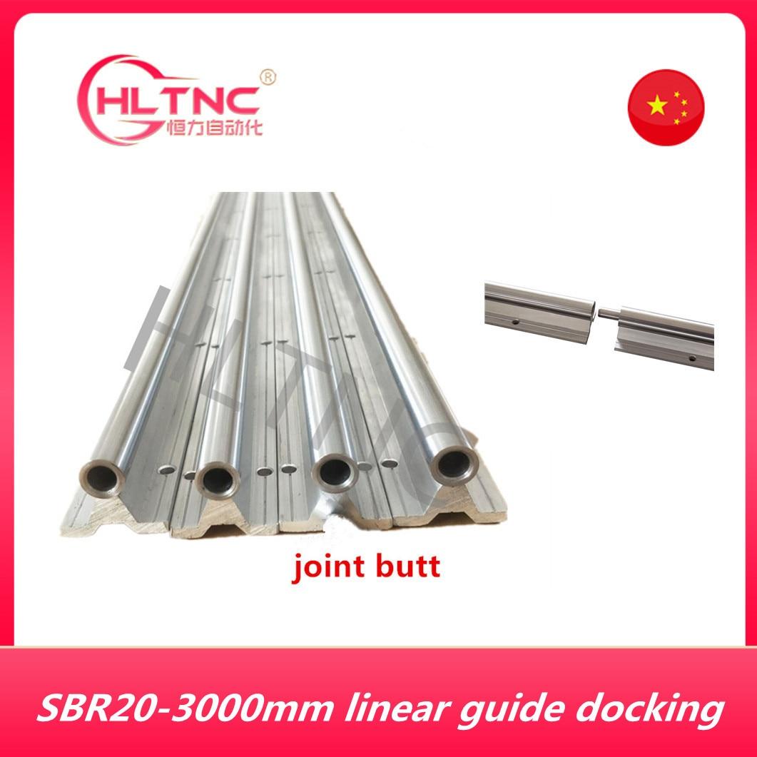 SBR20 دليل خطي abutting المشتركة 2 مجموعة SBR20-3000mm 20 مللي متر مدعوم بالكامل خطي السكك الحديدية رمح قضيب مع 4 SBR20UU